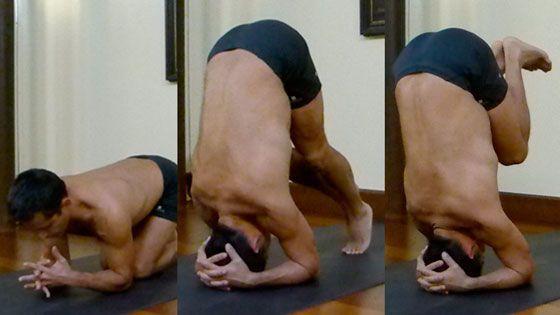 postura sobre la cabeza sirsasana